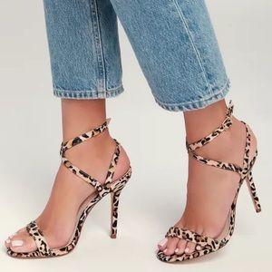 Lulu's Kingston Leopard Suede Strappy Stilettos
